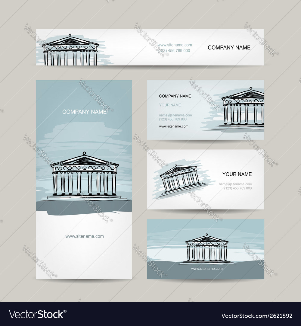 Business card design antique style building with vector | Price: 1 Credit (USD $1)