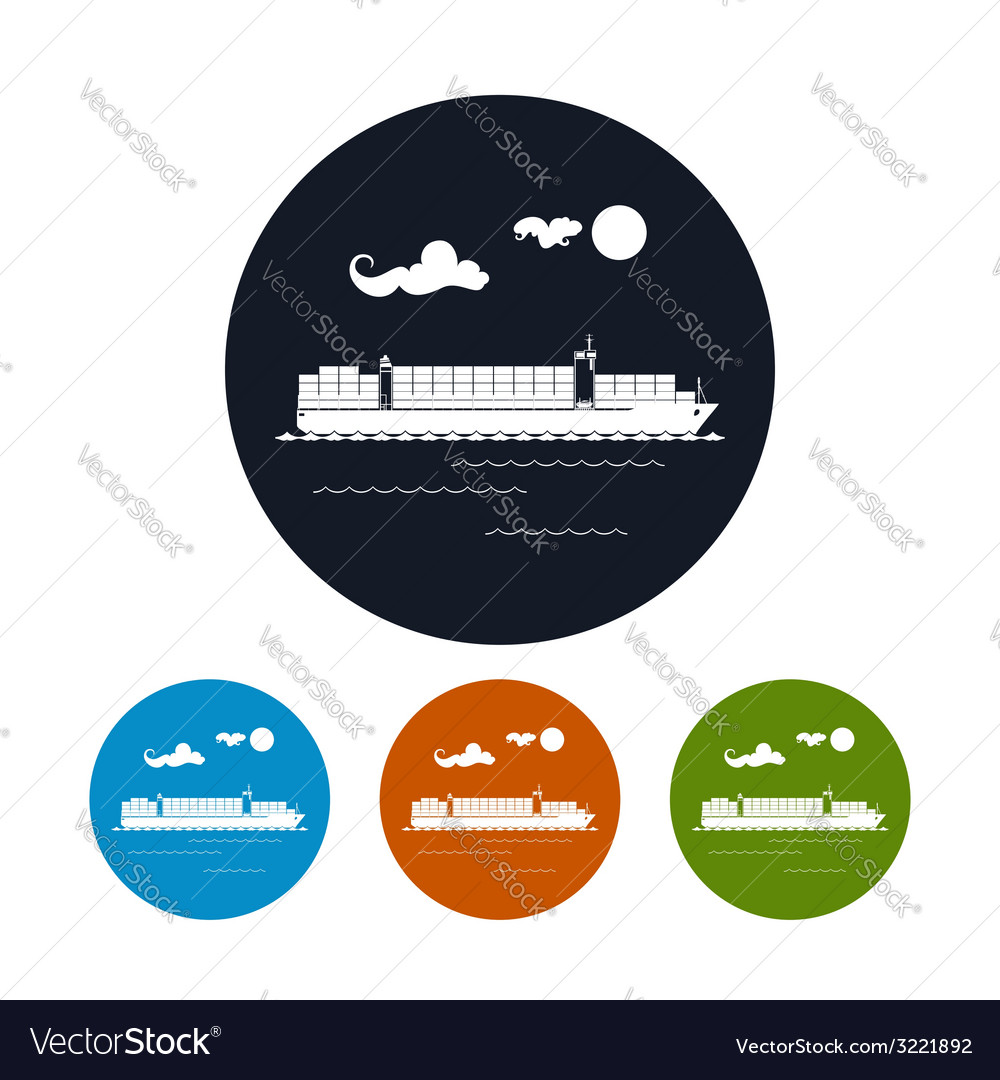 Cargo container ship icon vector | Price: 1 Credit (USD $1)