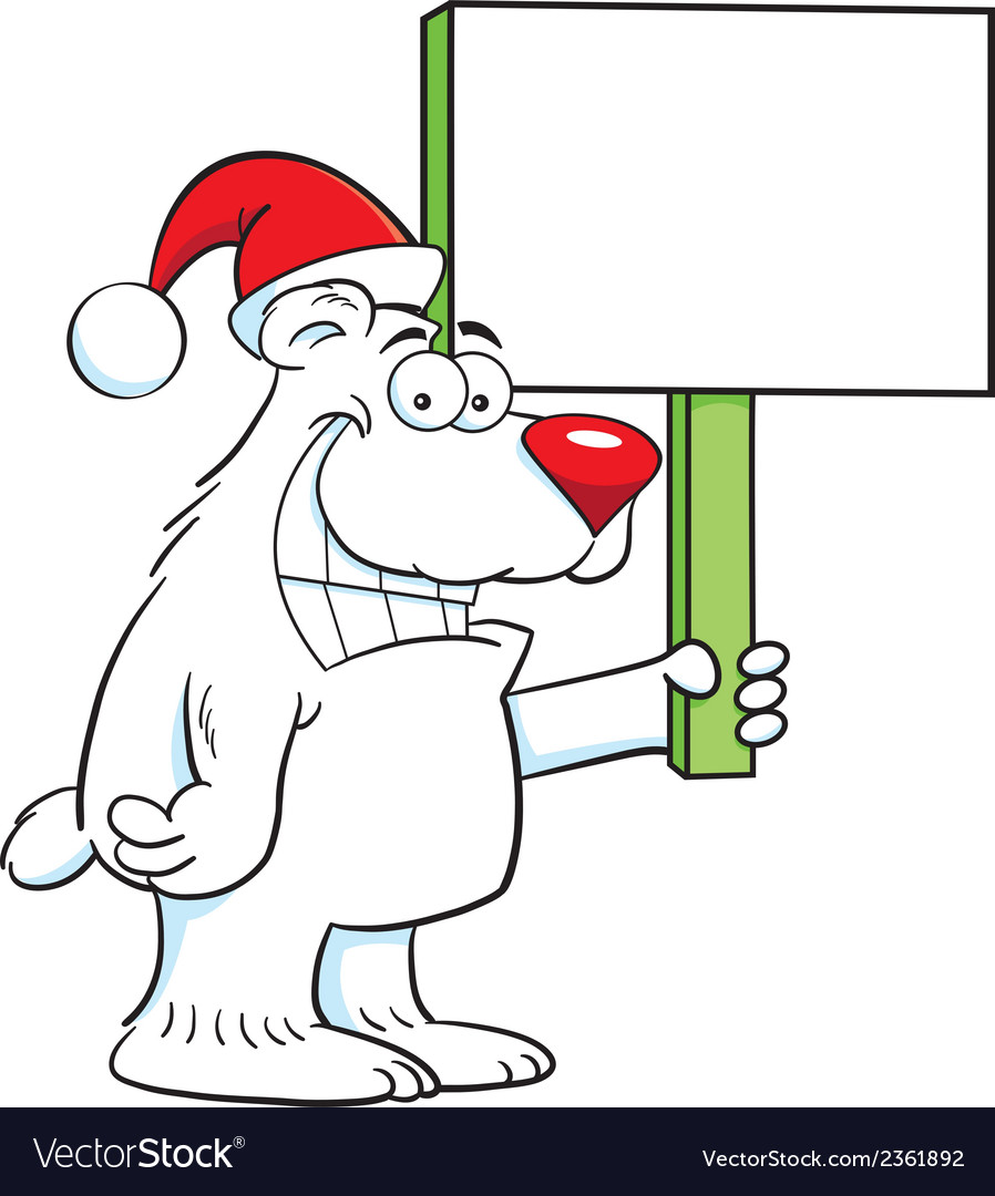 Cartoon polar bear santa vector | Price: 1 Credit (USD $1)