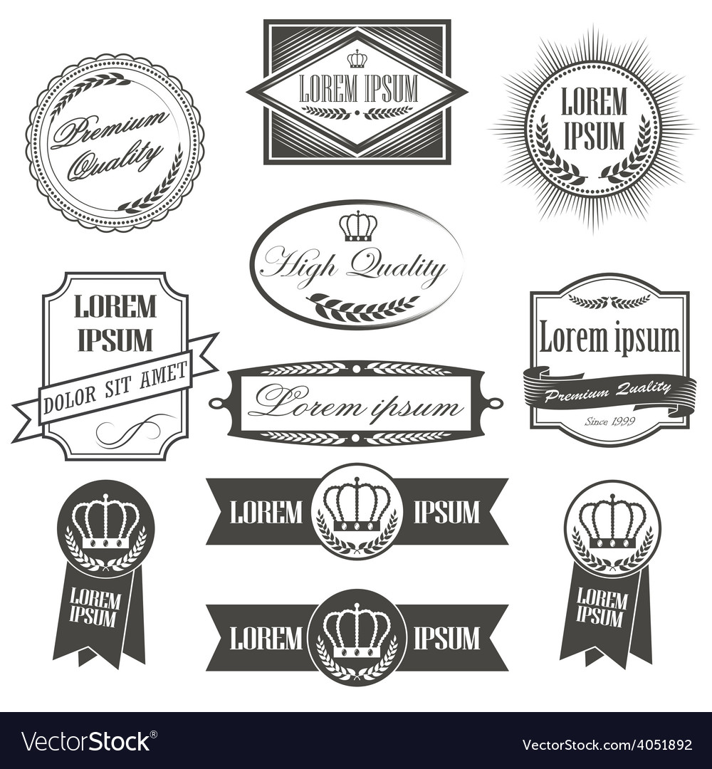 Collection of labels with retro vintage styled vector | Price: 1 Credit (USD $1)