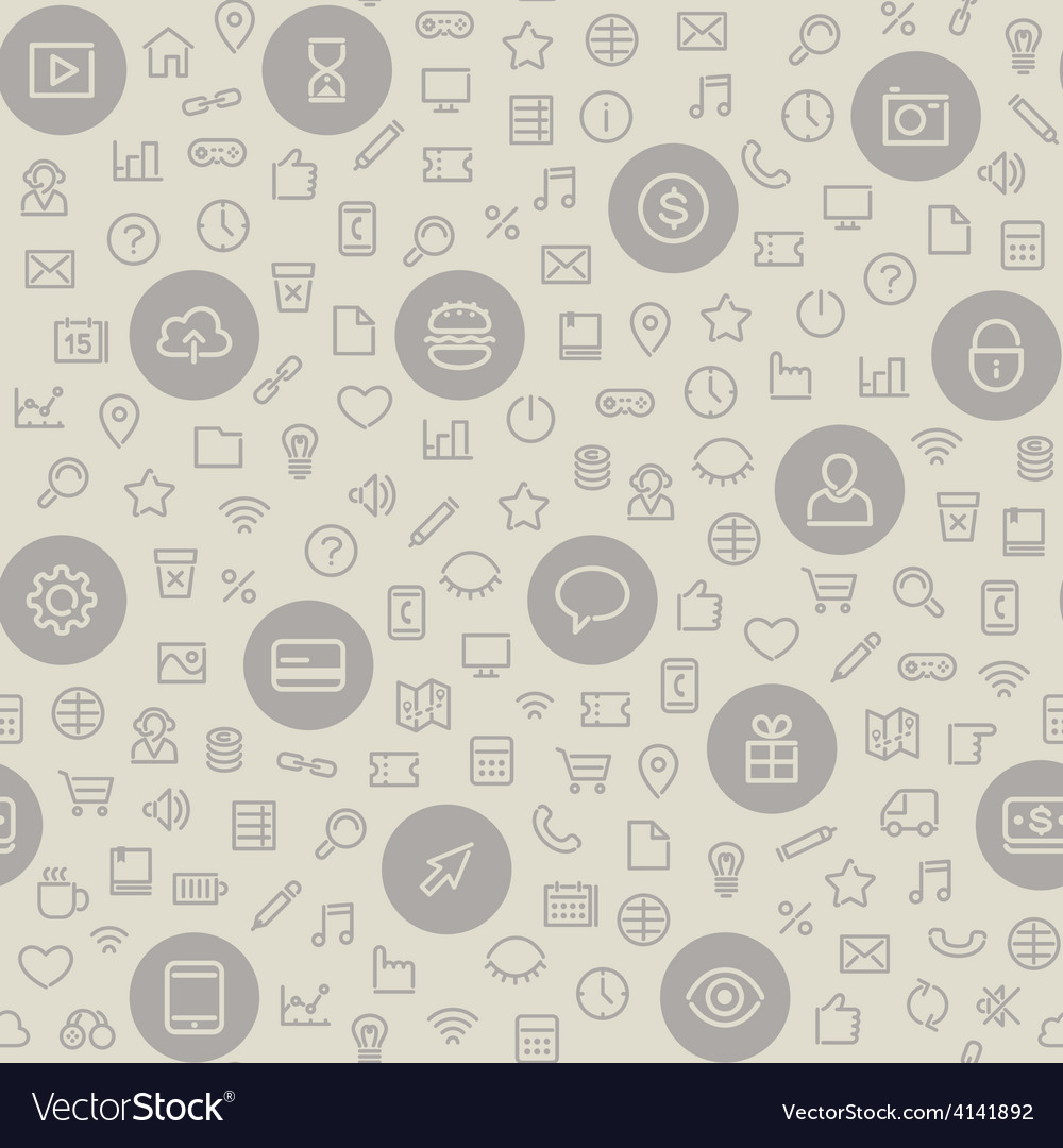 Light seamless pattern with universal icons vector | Price: 1 Credit (USD $1)