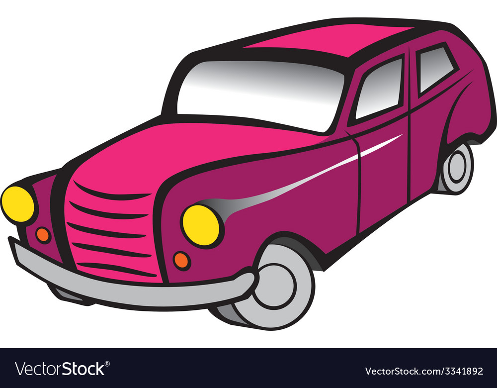 Old car 2 pink vector | Price: 1 Credit (USD $1)