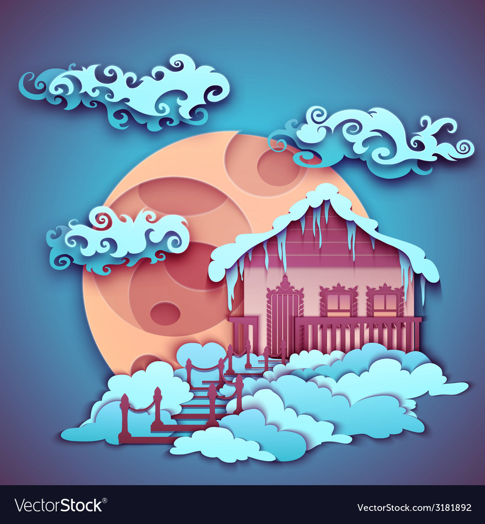 Origamy house with moon on night sky vector | Price: 1 Credit (USD $1)