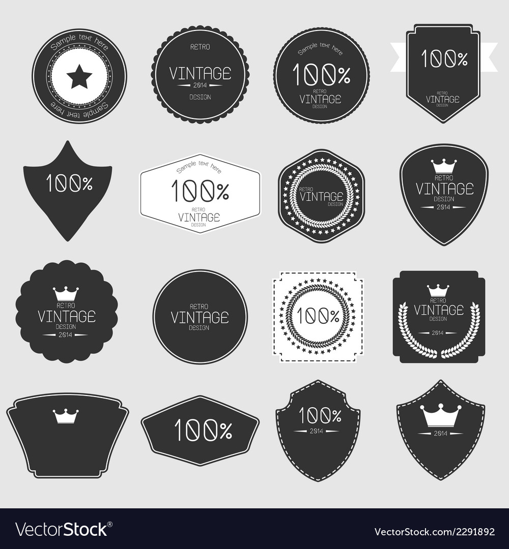 Set of blank retro vintage badges and labels vector   Price: 1 Credit (USD $1)