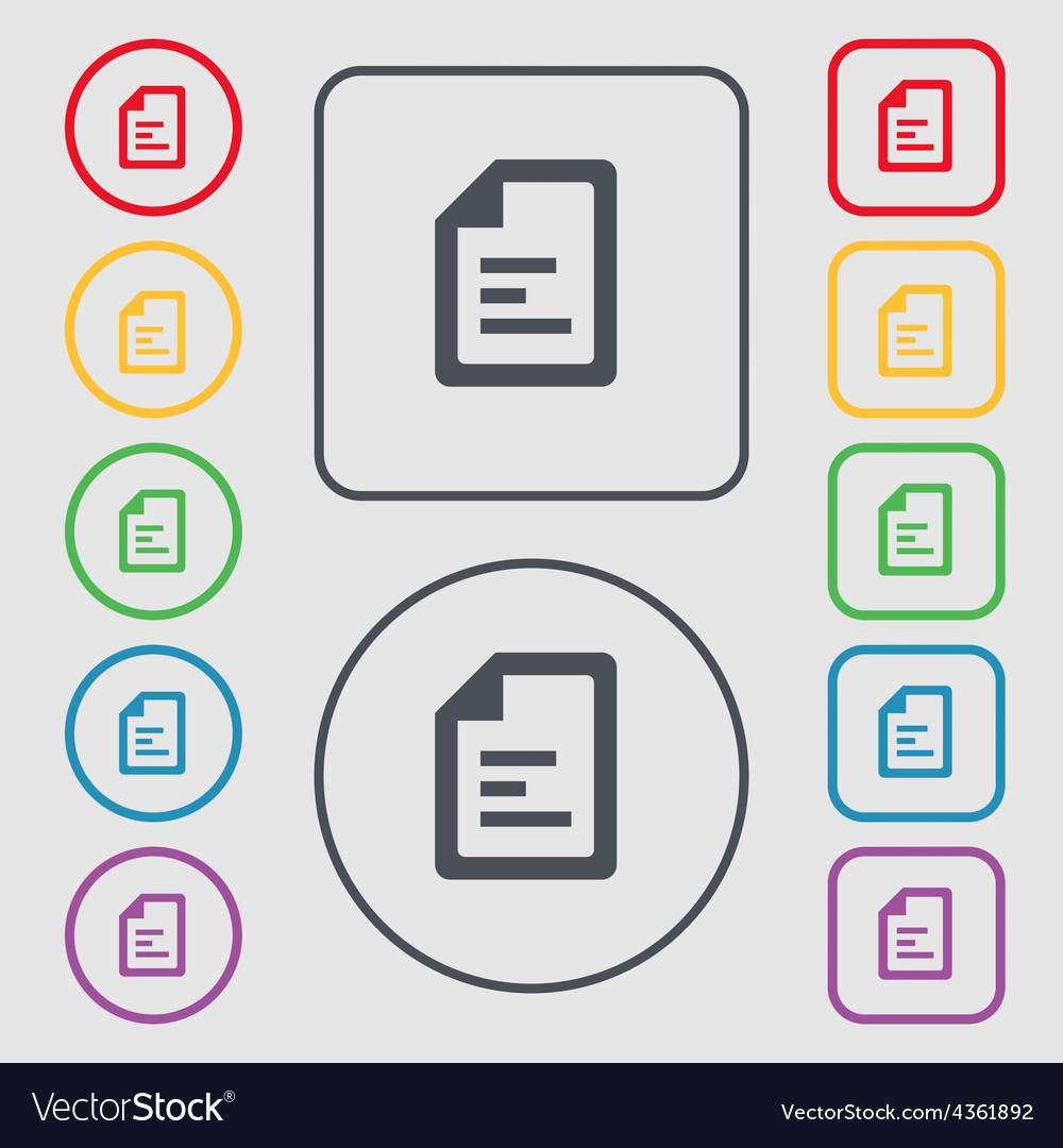 Text file icon sign symbol on the round and square vector | Price: 1 Credit (USD $1)