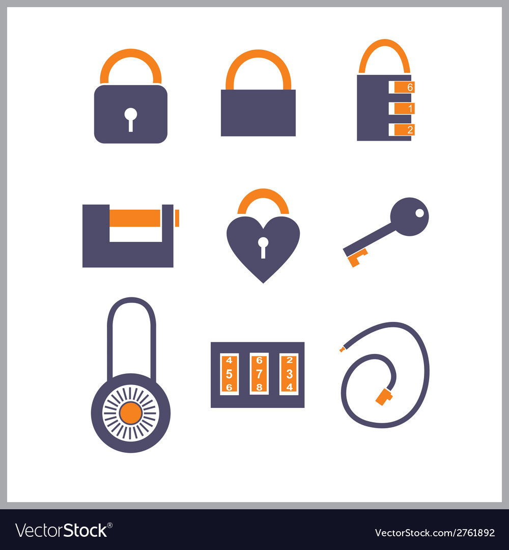 Various locks icons vector | Price: 1 Credit (USD $1)