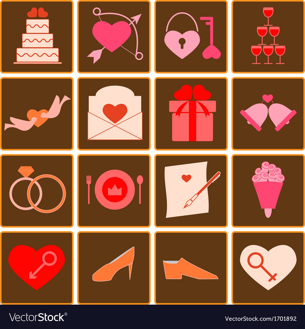 Wedding color icons on square button vector   Price: 1 Credit (USD $1)
