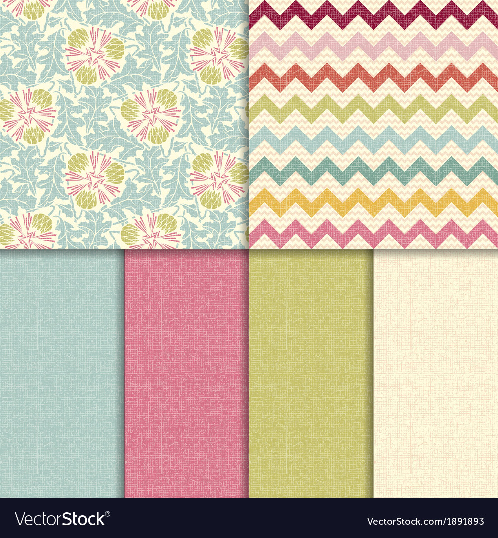 Colorful seamless patterns with fabric texture vector | Price: 1 Credit (USD $1)