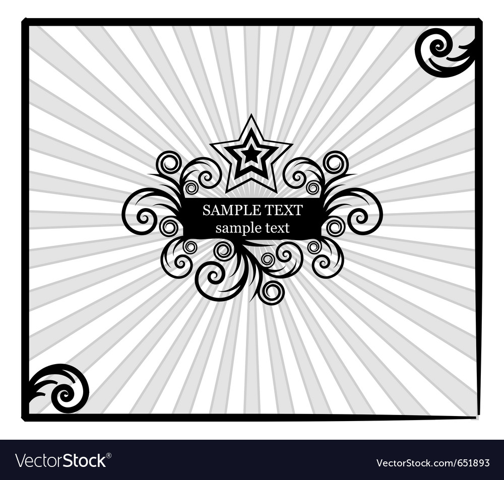 Decorative star-frame with spiral elements vector | Price: 1 Credit (USD $1)