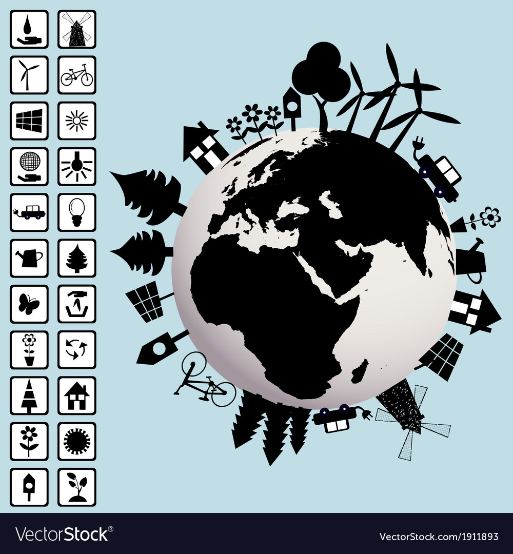 Ecological concept with earth and environment vector   Price: 1 Credit (USD $1)