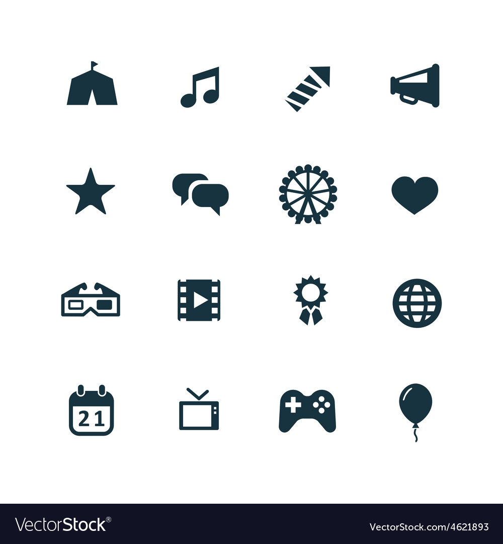 Entertainment icons set vector | Price: 1 Credit (USD $1)