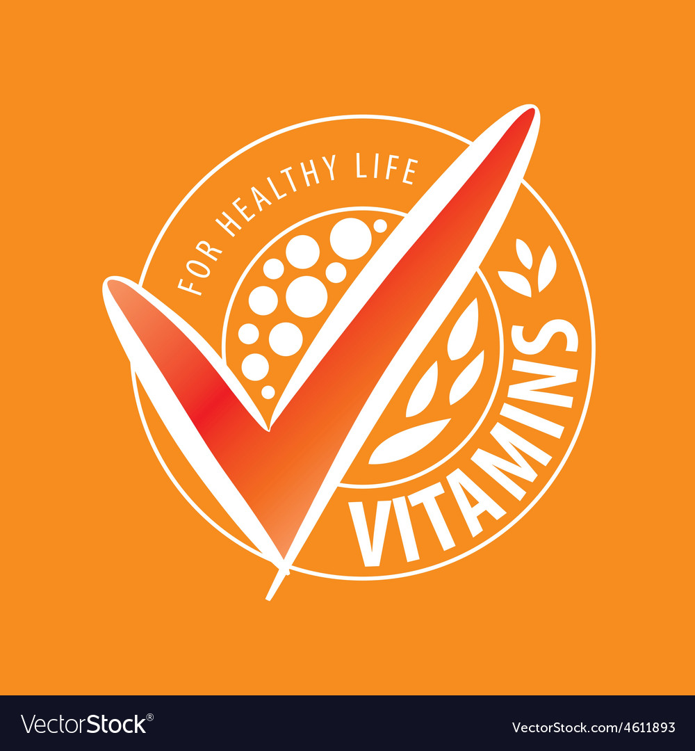 Logo vitamins on orange background vector | Price: 1 Credit (USD $1)