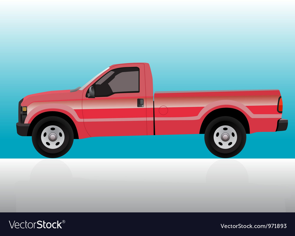 Pick-up truck red vector | Price: 1 Credit (USD $1)