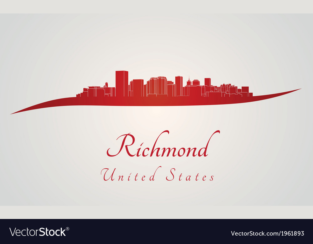 Richmond skyline in red vector | Price: 1 Credit (USD $1)