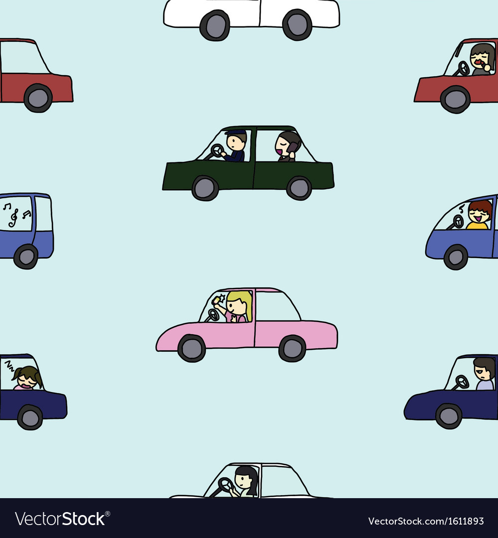 Seamless of activities during traffic jam vector | Price: 1 Credit (USD $1)