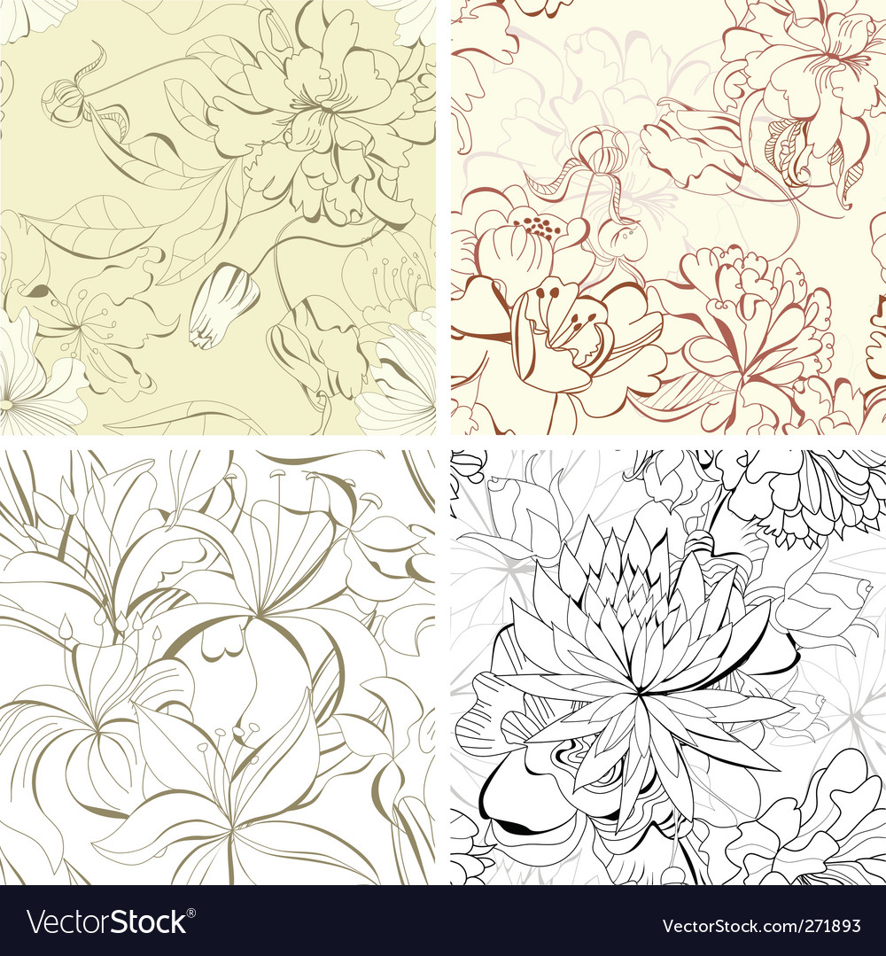 Set seamless floral wallpaper vector | Price: 1 Credit (USD $1)