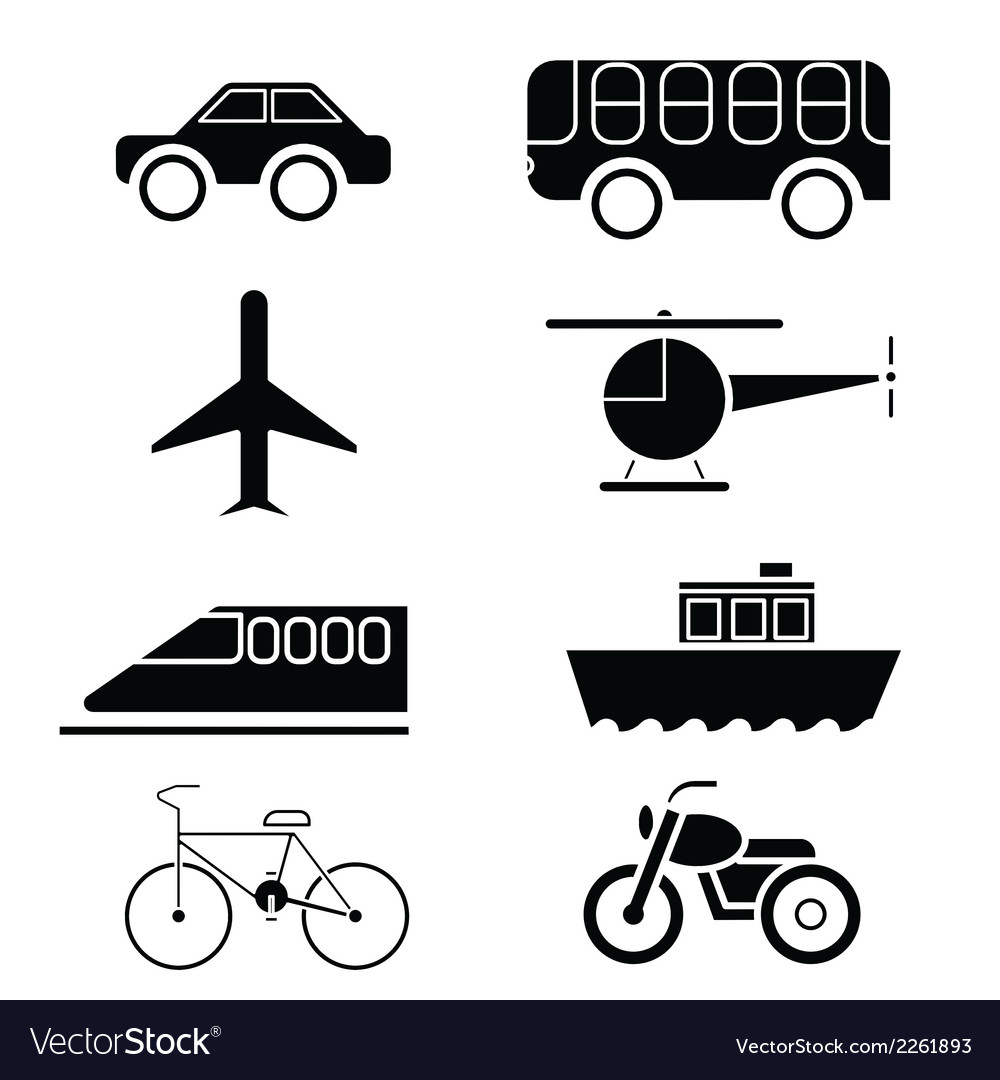 Silhouette of transportation icon set vector | Price: 1 Credit (USD $1)