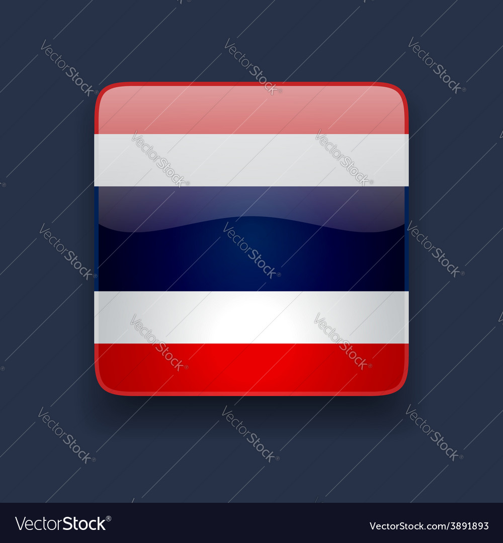 Square icon with flag of thailand vector | Price: 1 Credit (USD $1)