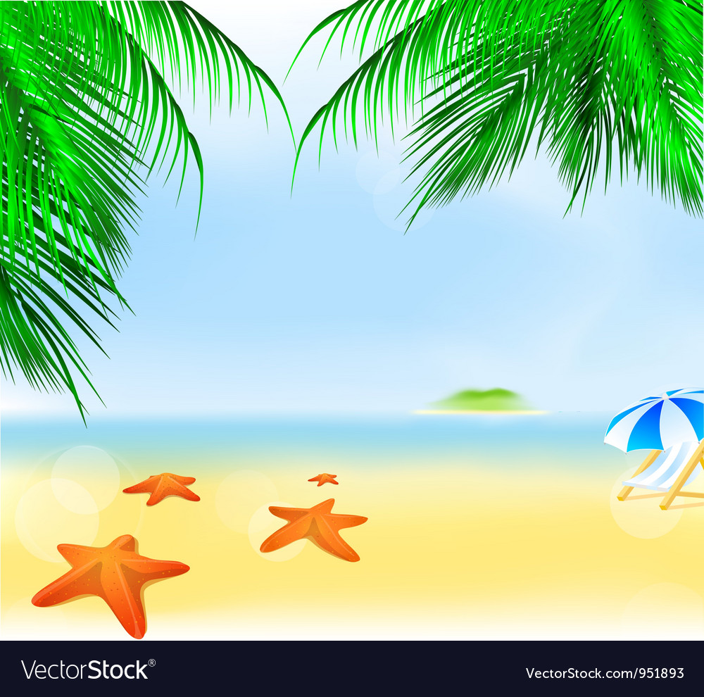Summer palm beach vector | Price: 1 Credit (USD $1)