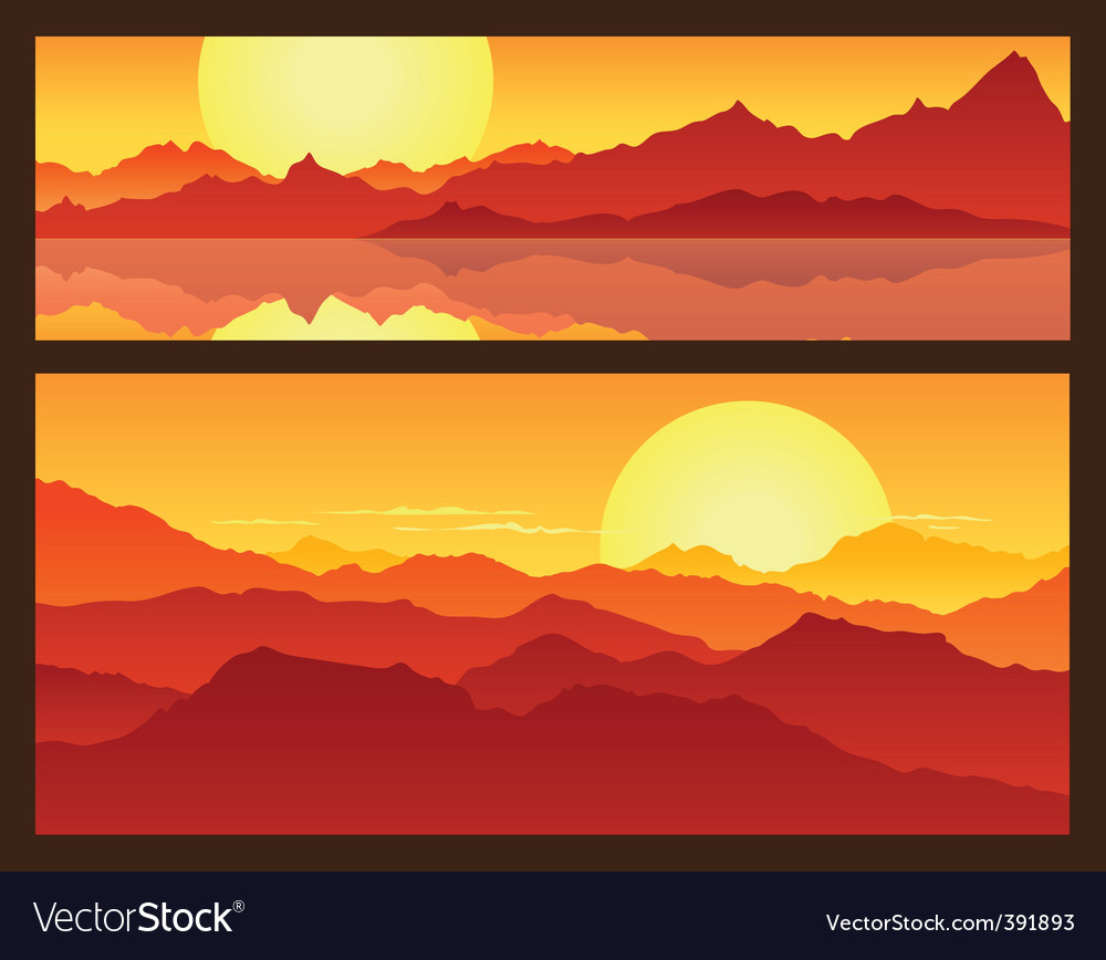 Sunrise in the mountains vector | Price: 1 Credit (USD $1)