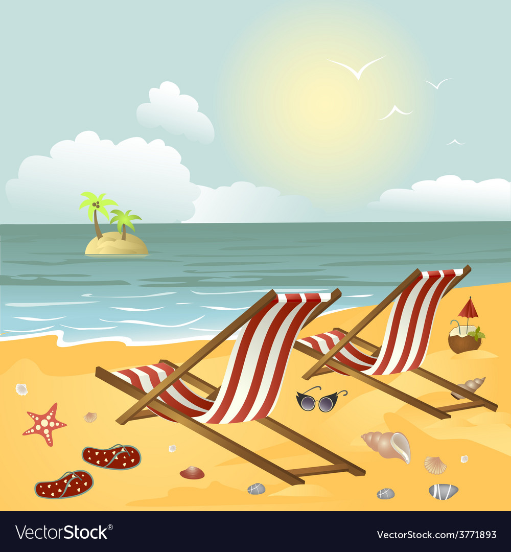 Two chaise longue on the beach vector | Price: 1 Credit (USD $1)