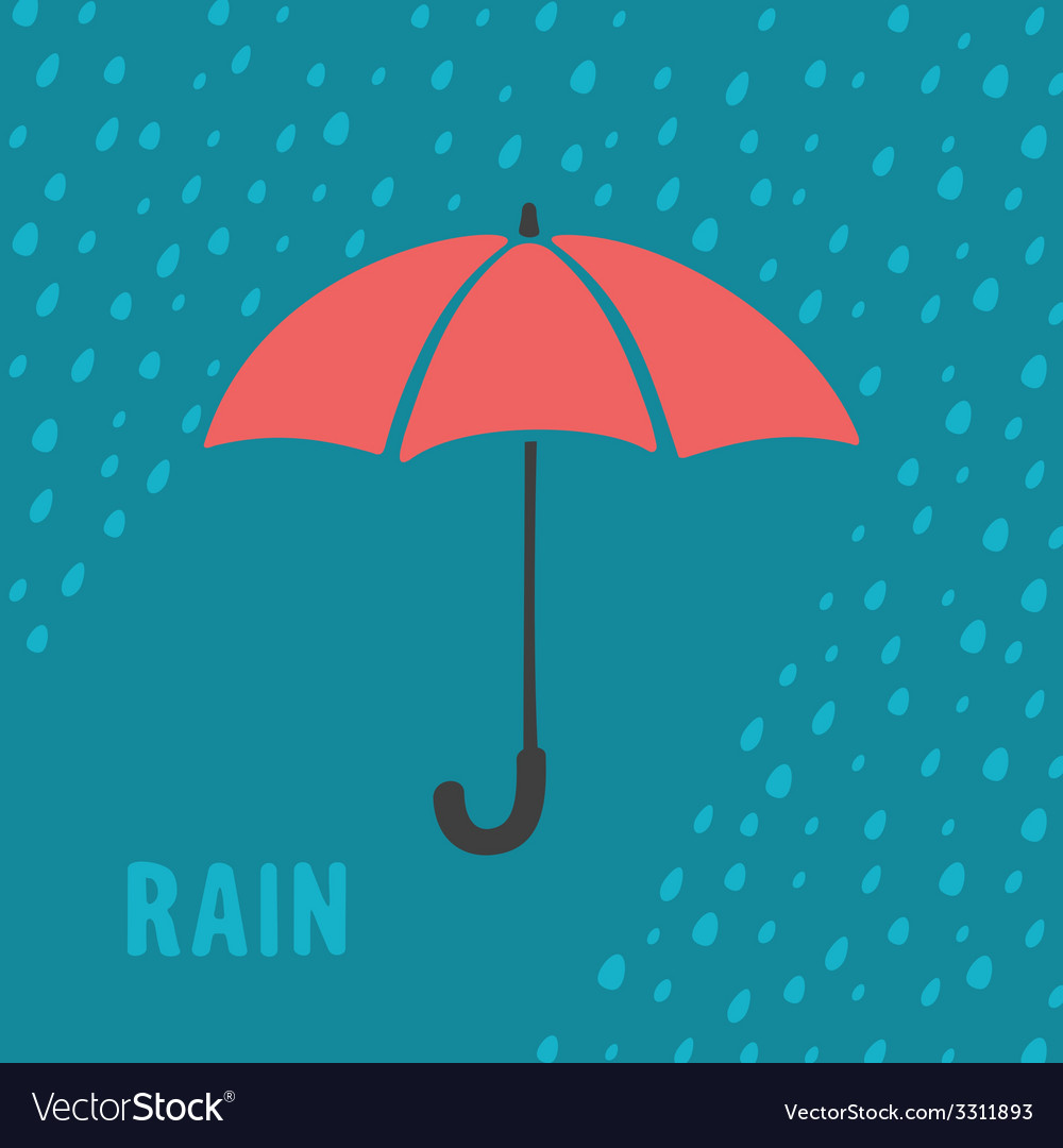 Umbrella and rain background vector | Price: 1 Credit (USD $1)