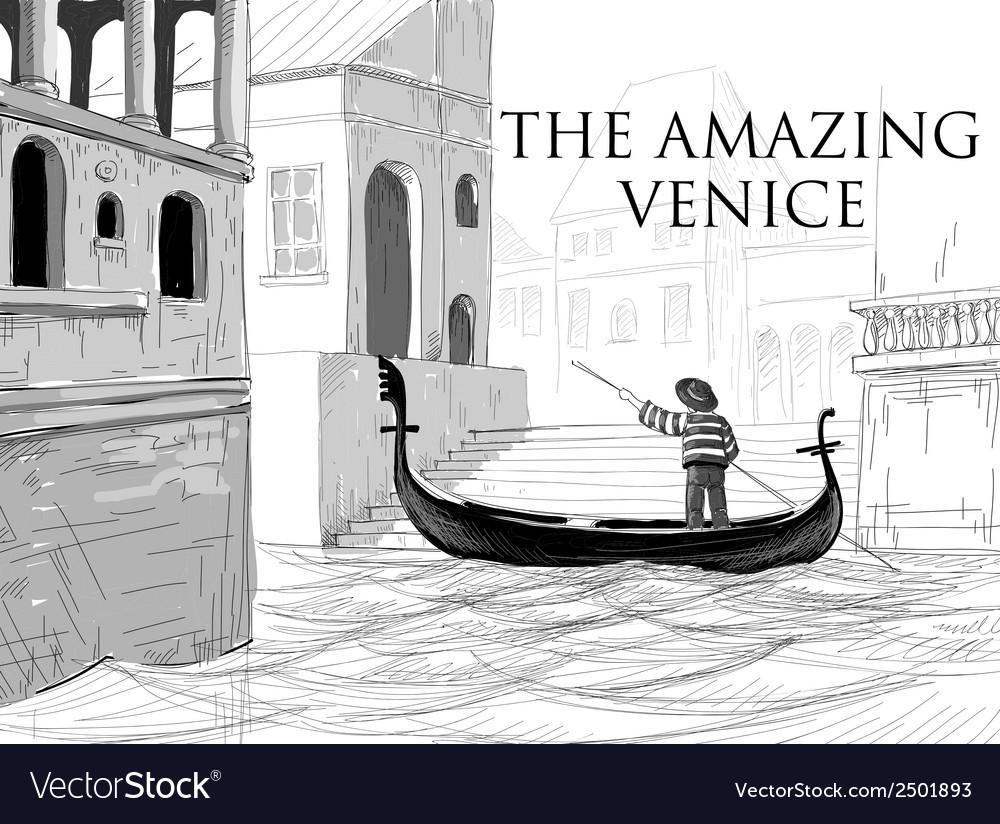 Venice canals gondola sketch vector | Price: 1 Credit (USD $1)