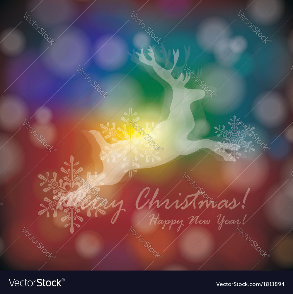 Christmas card with stylized white deer with vector | Price: 1 Credit (USD $1)