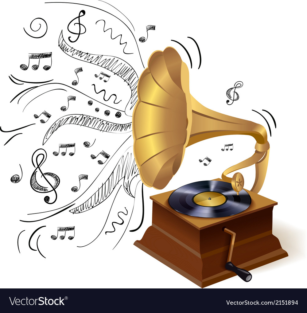 Music doodle gramophone vector | Price: 1 Credit (USD $1)