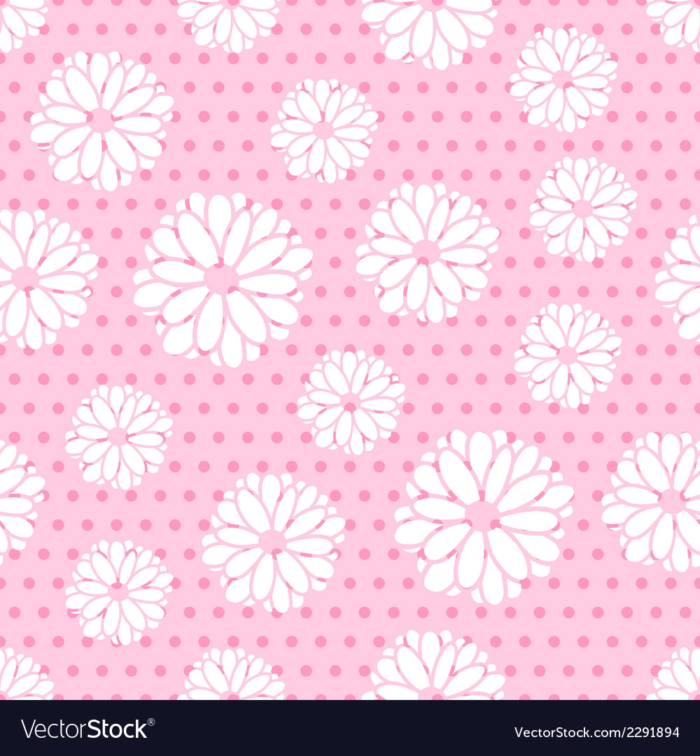 Seamless pattern of flowers and dots vector | Price: 1 Credit (USD $1)