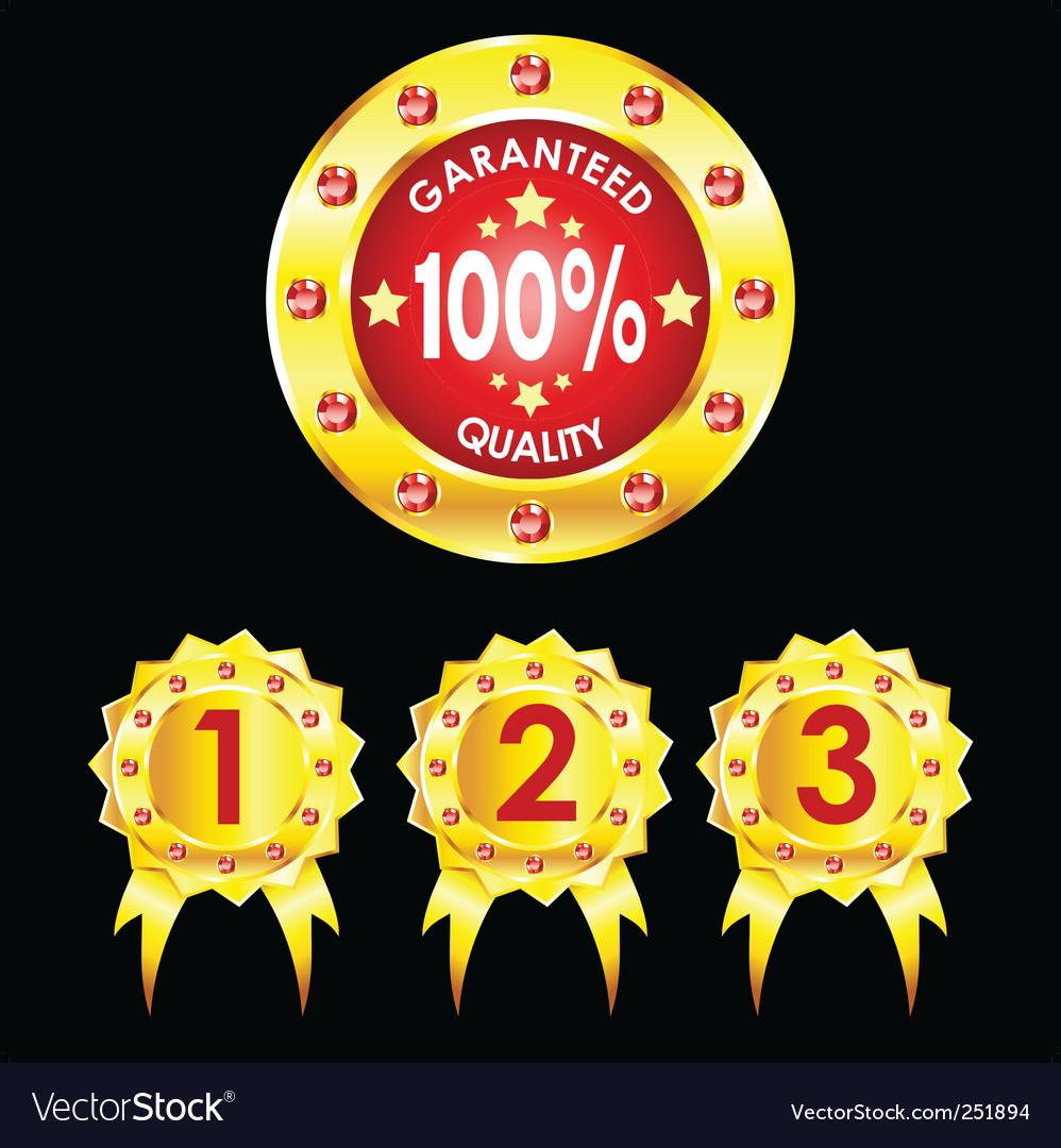 Set of golden badges on black background vector | Price: 1 Credit (USD $1)