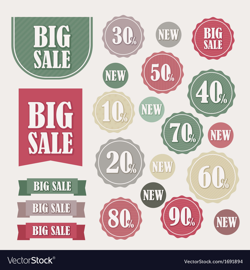 Set of sale labels and banners vector   Price: 1 Credit (USD $1)