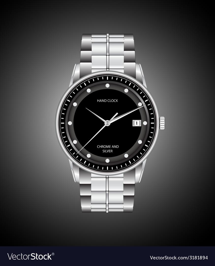 Silver hand clock vector | Price: 1 Credit (USD $1)