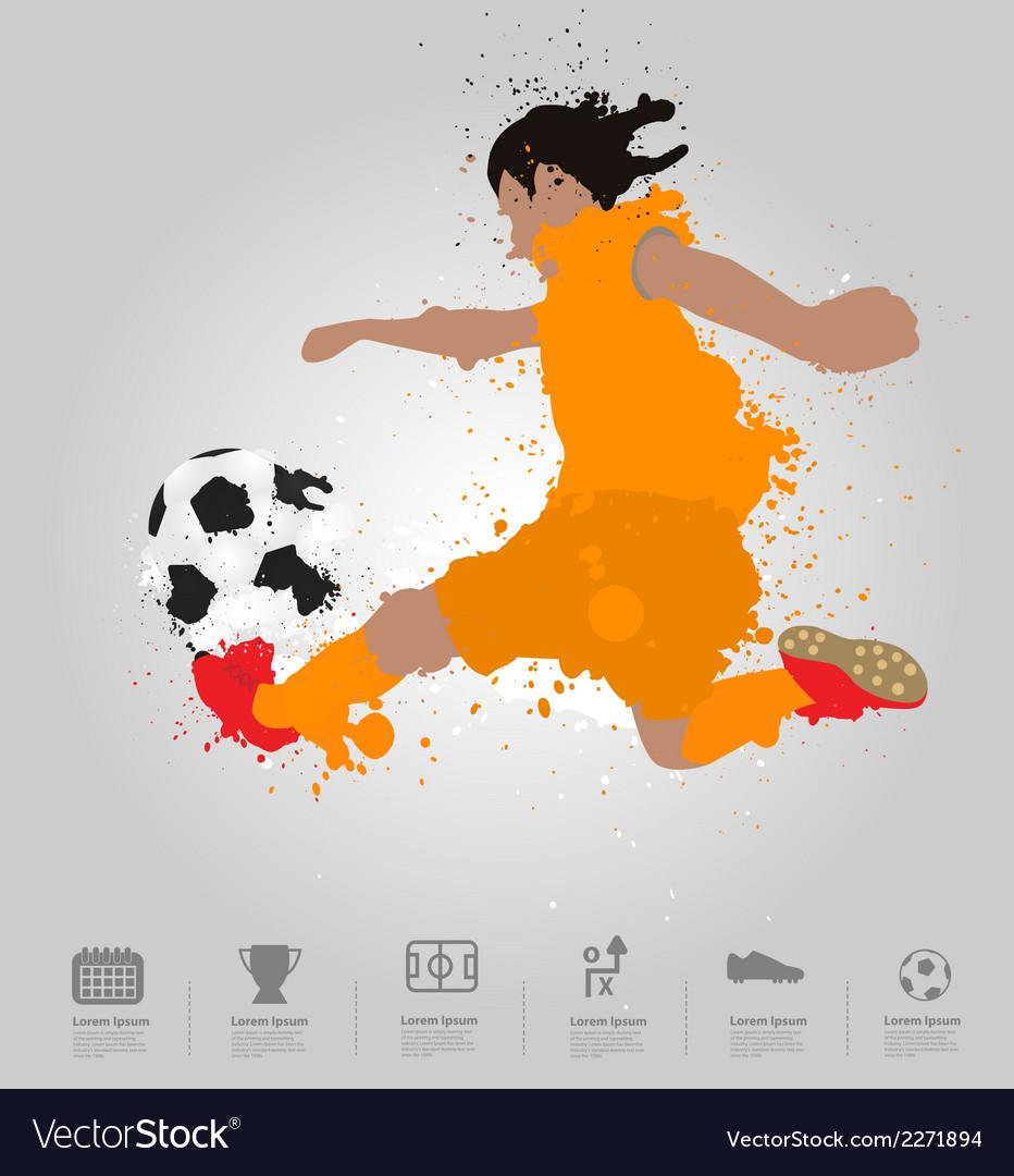 Soccer player kicks the ball vector | Price: 1 Credit (USD $1)