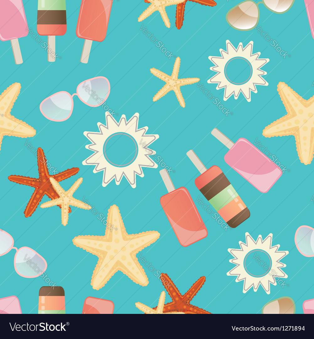 Summer sun starfish and icrecream vector | Price: 1 Credit (USD $1)