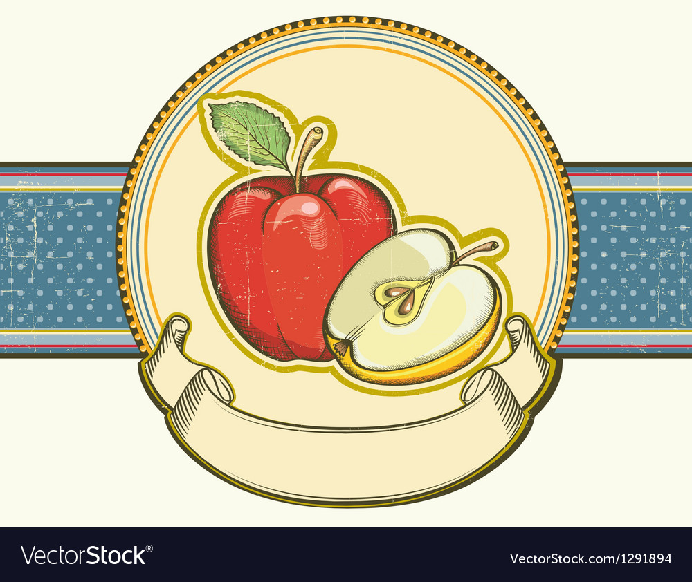 Vintage apples label on old paper background vector | Price: 1 Credit (USD $1)
