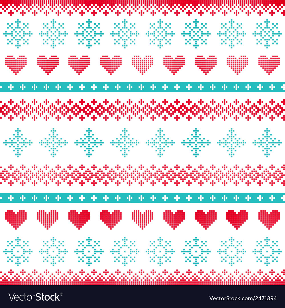 Winter christmas seamless pixelated pattern vector | Price: 1 Credit (USD $1)