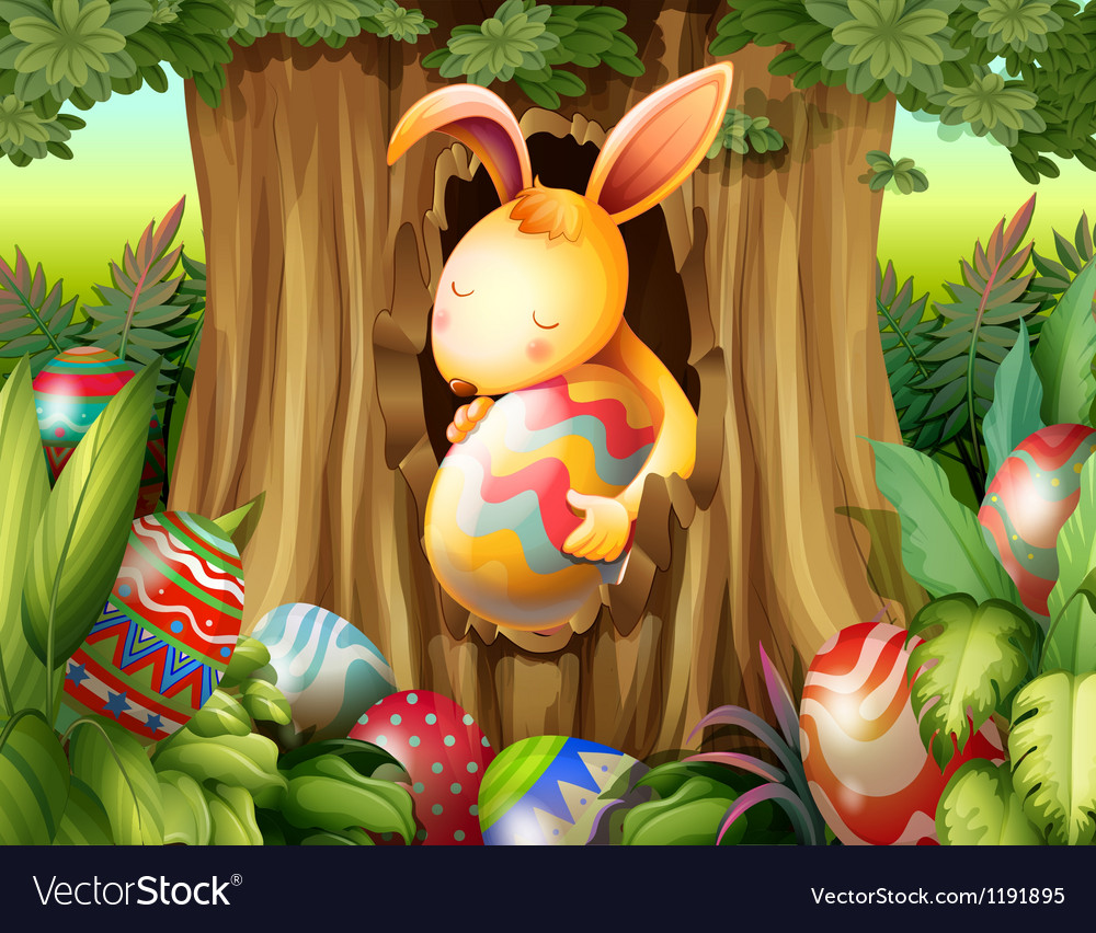 A rabbit inside the hole of a tree surrounded with vector | Price: 1 Credit (USD $1)