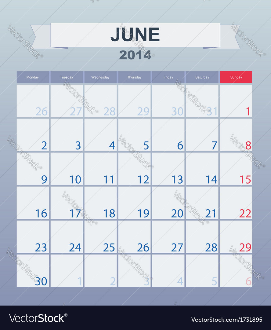 Calendar to schedule monthly june 2014 vector | Price: 1 Credit (USD $1)