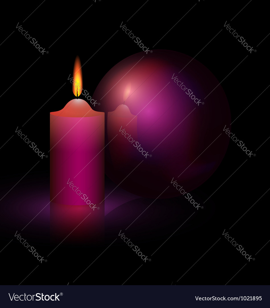 Candle and purple ball vector | Price: 1 Credit (USD $1)