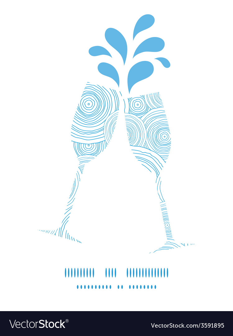 Doodle circle water texture toasting wine glasses vector | Price: 1 Credit (USD $1)