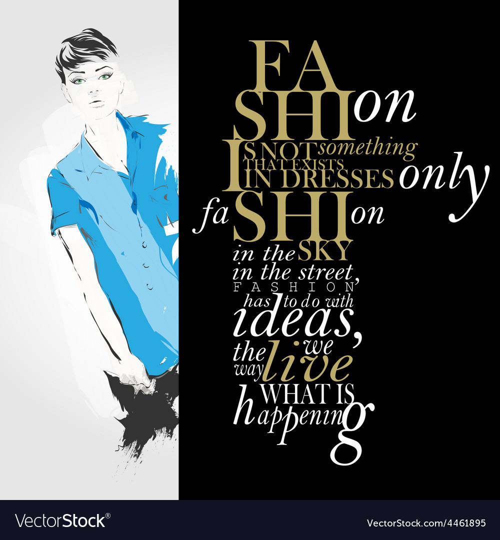 Fashion quote with modern girl vector | Price: 1 Credit (USD $1)