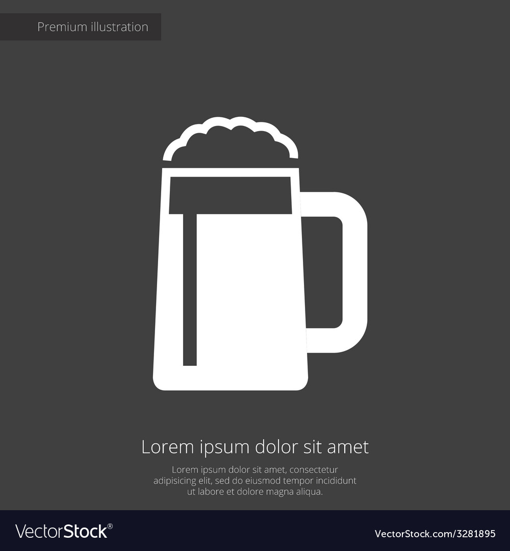 Glass of beer premium icon white on dark backgroun vector | Price: 1 Credit (USD $1)