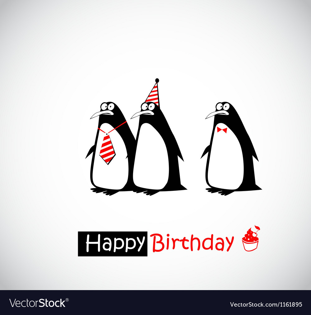 Happy birthday card penguin vector | Price: 1 Credit (USD $1)