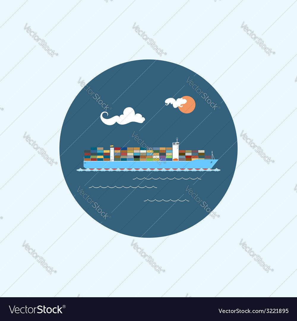 Icon with colored cargo container ship vector | Price: 1 Credit (USD $1)
