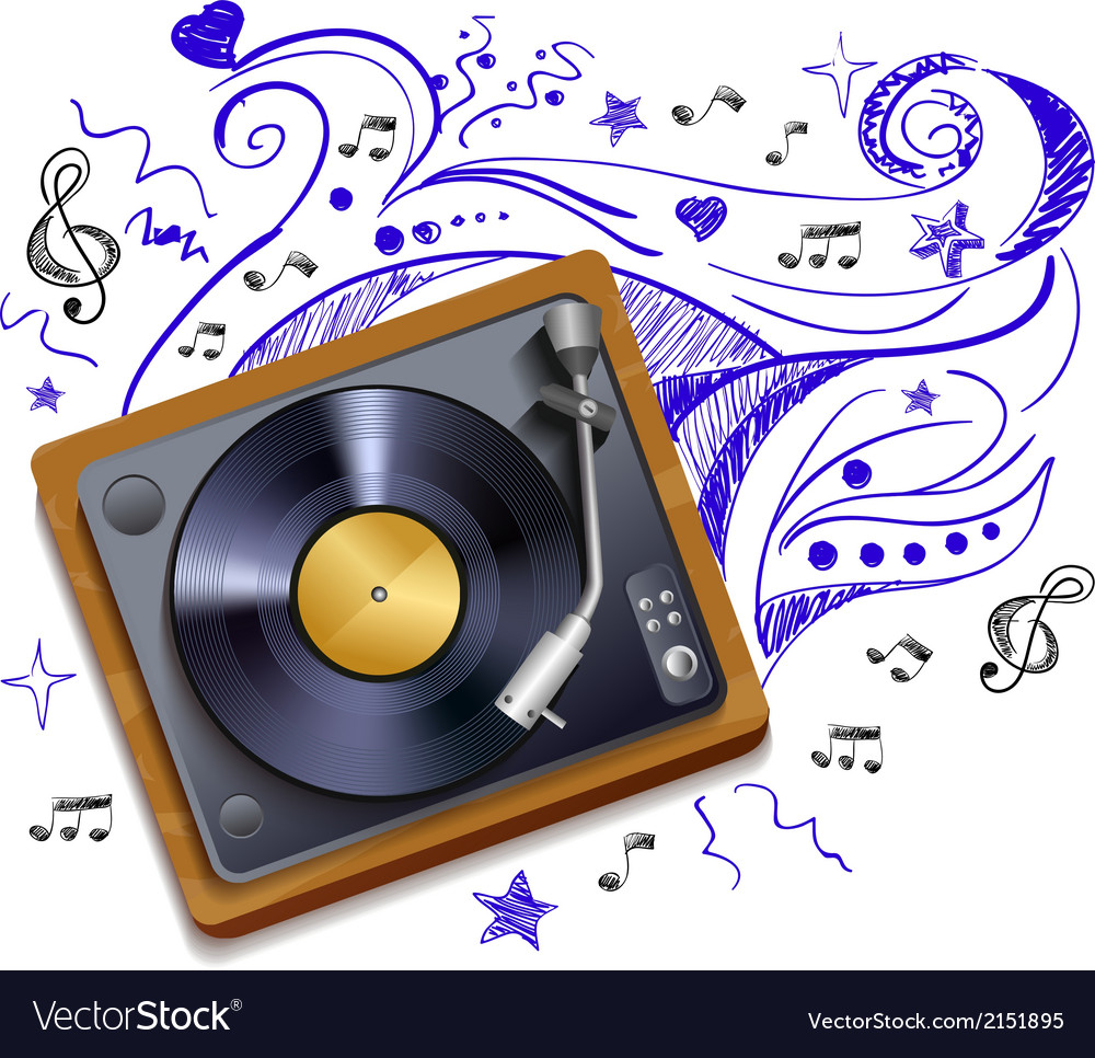 Music doodle vinyl record player vector | Price: 1 Credit (USD $1)