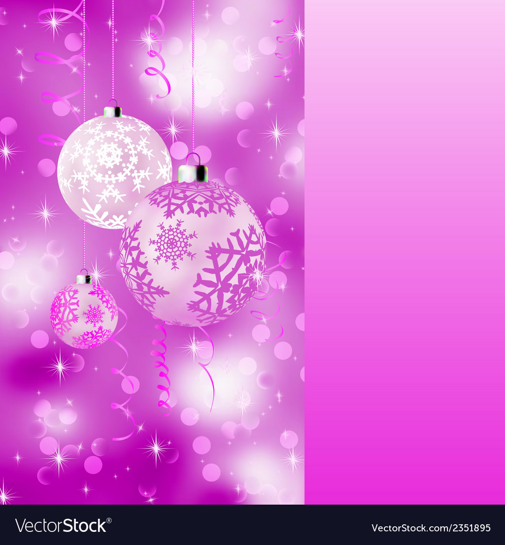 Pink card with christmas balls eps 8 vector | Price: 1 Credit (USD $1)