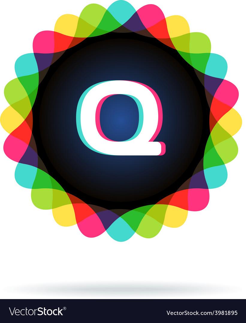 Retro bright colors logotype letter q vector   Price: 1 Credit (USD $1)