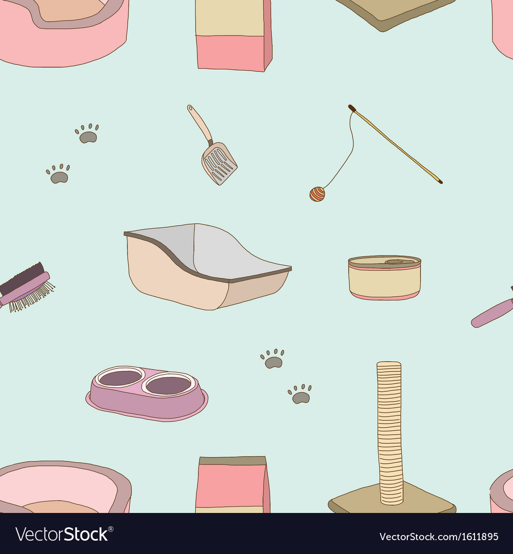 Seamless of cat stuff vector | Price: 1 Credit (USD $1)