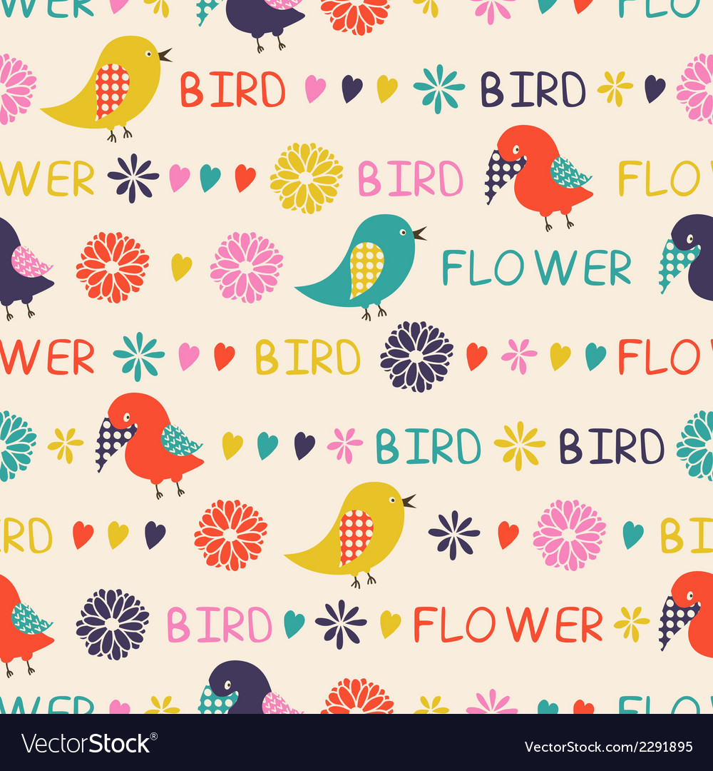 Seamless pattern of birds and flowers vector   Price: 1 Credit (USD $1)